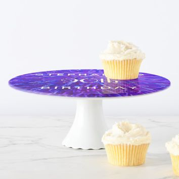 Purple Abstract Cake Stand, 90th Birthday Party Cake Stand
