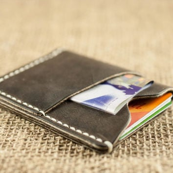 Rustic Pocket Wallet // Caramel Slim Leather Wallet // Mens Womens Credit Card Holder // Wallet with Initials