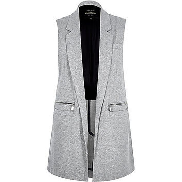 River Island Womens Light grey woven sleeveless jacket