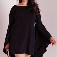 Plus Size Black Flared Sleeve Swing Dress