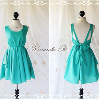 Turquoise Party Bow Back Prom Cocktail Dress by LovelyMelodyClothing on Etsy