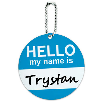 Trystan Hello My Name Is Round ID Card Luggage Tag