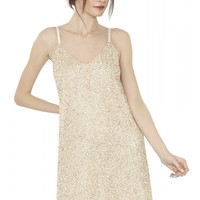 alice + olivia | KALIA BEADED V NECK SLIP DRESS