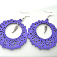 Wooden Earrings, purple Earrings, Hoop Earrings. Bright Earrings. Flower Floral,feathers earrings
