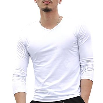 2017 Summer Mens Long Sleeve T Shirt Solid Color Cotton tshirt Slim Fitness Causal T-shirt Male Tops Brand Clothing 3XL F15