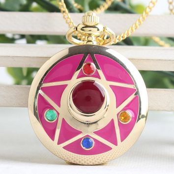 Golden anime Janpanese Cosplay Necklace Sailor moon pocket watch steampunk watch with chain pendant relogio masculino CF1028