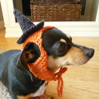 Dog Halloween Costume CROCHET PATTERN Dog Costume Witch Costume Witch Hat Dog Hat Halloween Costume for Dog Spooky Dog Clothes Orange Black