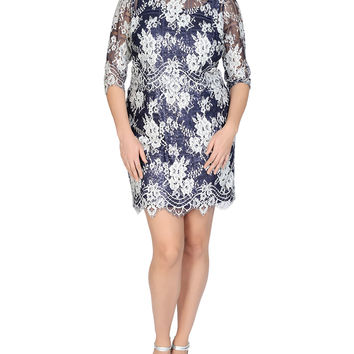 3/4-Sleeve Sequined Lace Cocktail Dress, Size: