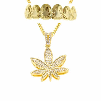 Pot leaf grill and chain set