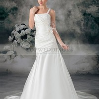 One Shoulder Appliqued Satin Mermaid Bridal Gown with Feather and Flower