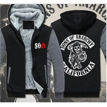 Sons of Anarchy Samcro Jax Spring Summer Print Jacket Coat Thicken Sweaterwear US EU Size Plus Size S-6XL 4 Colour #33