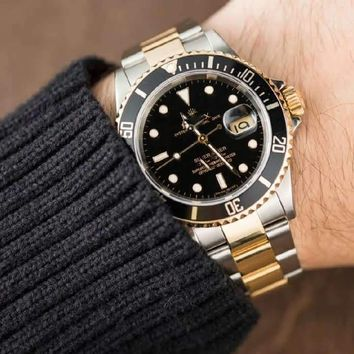 Day-date Submariner Watch (Stainless Steel/Gold/Black)