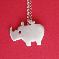 Rhino with Tiny Friend Necklace Sterling Silver Bird Kids Teens Women Jewelry Holidays