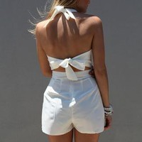 White Halterneck Romper with Tie Bow Open Back Detail