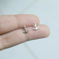 Sterling Silver Anchor Stud Earrings - Tiny Anchor Earrings - Nautical Earrings - anchor jewelry - Bridesmaid Gift - Gift for he, Tiny studs