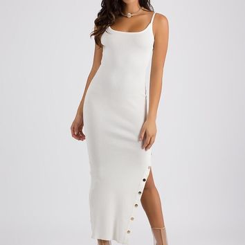 Oh Snap Button Slit Maxi Dress (White)