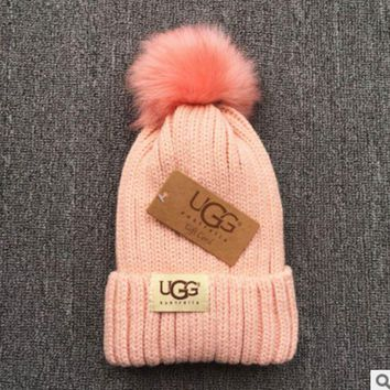 PEAPNV UGG Trending Fashion Casual  Knit And Pom Hat Cap Warm Woolen Hat Pink