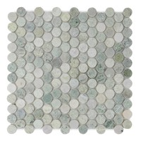 Ming Green Polished Penny Round Mosaic Floor & Wall Tile.