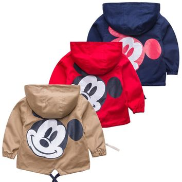 Retail!2017 children jacket coat,boy and girls spring autumn cartoon mickey stripe pure cotton coat,girls clothes,free shipping