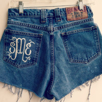 Monogrammed High Waisted Shorts Custom Made Preppy Initial Shorts Tumblr Hipster