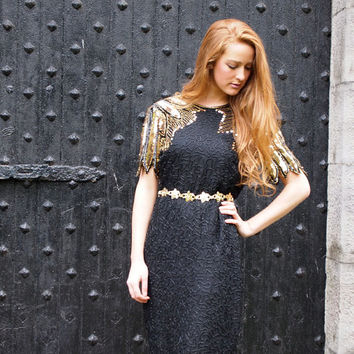Midnight Star, Vintage, 1970s Black Beaded, Gold Sequin, Party Dress with Cut-Out Back, from Paris