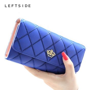 New 2017 casual high-capacity women wallets Lingge metal crown lady long day clutch wallet high quality purse for women girls