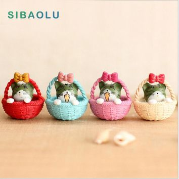 4pcs Cheese Cat Figures Miniature Figurine decorative mini fairy garden animals statue