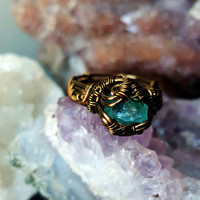 Blue Apatite Stone Wire Wrapped Ring size 9 Vintage Natural Brass Wire