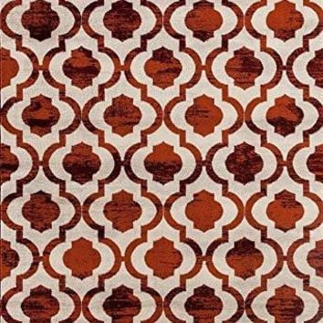 0672 Red Distressed Moroccan Trellis Area Rugs