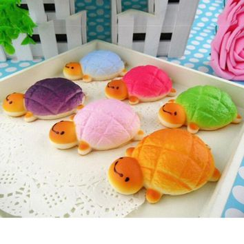 Hot Kawaii 1PC Tortoise Squishy Bread Scented Slow Rising Charm Phone Bun Soft Straps Toy