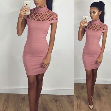 Summer Women Sleeveless Bandage Bodycon Evening Party Cocktail Mini Dress (Pink)