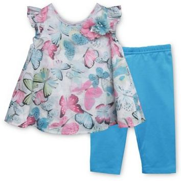 Pippa & Julie™ Butterfly 2-Piece Short Sleeve Tunic and Legging Set in Turquoise
