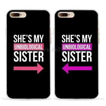 she is my sister best friends love pair soft TPU case for iphone 5s se 6s 6plus 6splus 7 7plus 8 8plus X XR XS BFF MAX BFF case