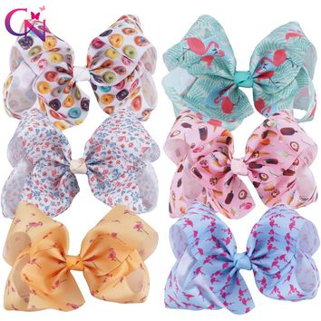 """6 Pieces/lot 7"""" Flamingo Hair Bows With Clips For Kids Girls Boutique Large Printed Ribbon Knot Bows Hairgrips Hair Accessories"""
