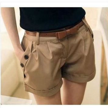 women new fashion 2017 autumn summer spring plus size shorts loose casual shorts women black khaki size S - 6XL