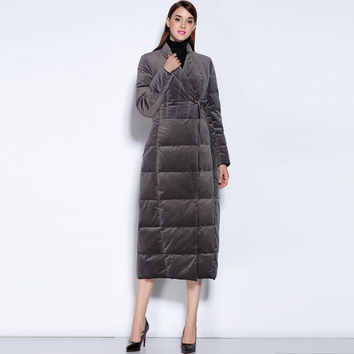 2016 Designer Women's Sexy V-neck Collar Covered Buttons with Sash Winter Warm Down High Quality Coat Whiter Duck Down Outerwear