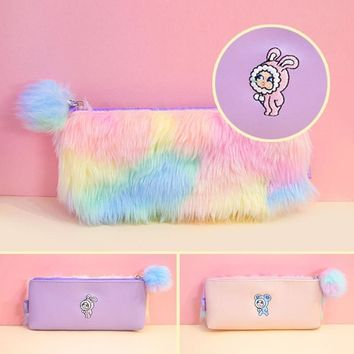 Korean Kawaii Penal Cute Plush School Pencil Case Rainbow Pencilcase for Girls Large Big Pen Bag Stationery Pouch Box Supplies