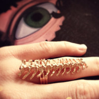 Vertebrae gypsy goth dead science Spine bone ring