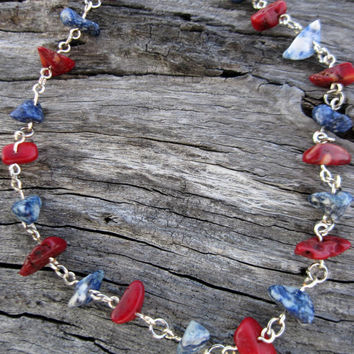 Gemstone anklet with coral and sodalite on chain, hippie ankle bracelet, beaded anklet, gemstone jewelry, dainty anklet, beach jewelry