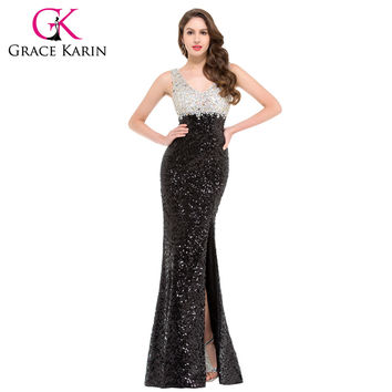 Sparkle Double V Neck Elegant Evening Gown Long Sheath Sequins Evening Dresses Black Formal Dresses Sexy Split Designer GK000022
