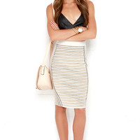 Lunch Break Date Beige and Ivory Striped Pencil Skirt