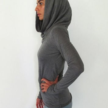 Long sleeve top with cowel neck. Yoga clothes - dance wear - yoga top - fitness. Charcoal grey, Stone, White. Size SM and ML