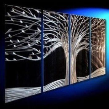 100% Hand-painted Free Shipping Wood Framed Night Forest High Q. Wall Decor Modern Abstract Oil Painting on Canvas 10x20inch 4pcs/set Mixorde