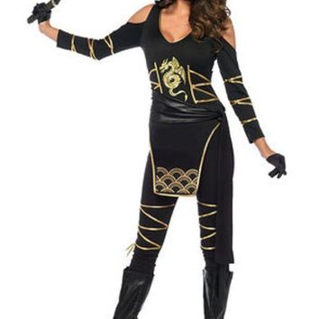 VONE5FW 3PC.Stealth Ninja,hooded catsuit,waist sash,and face mask in BLACK/GOLD