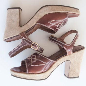 70s Leather Platform Sandals 6.5 | Brown Tan Rust Suede Platforms | Hippie Chic 1970s Vintage High Heel Sandals