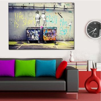 GOODECOR Pop Street Art Graffiti Life is Short Chill the Duck out Two Nude Kid Poster Print Home Decor Modern Wall Art Picture