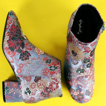 Qupid Block Heel Floral Brocade Booties