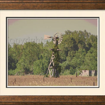 Golden Brown Field in Nebraska with Old fashioned Windmill  Photograph Wall Art Wall Hanging Home Decor Rustic