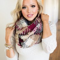 (Cyber Monday) Composed Plaid Knit Infinity Scarf