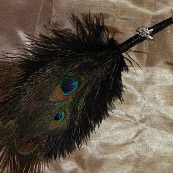 Feather Besom Broom or Smudge Wand - Peacock & Ostrich Feathers w/ Genuine Amethyst - Wiccan Besom - Occult Altar Tools - Decorative Broom